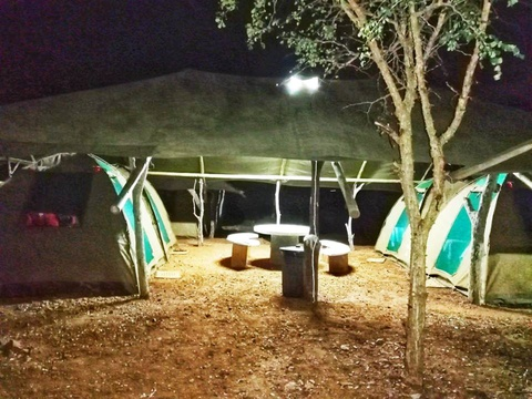 Tents each with own canvas roof