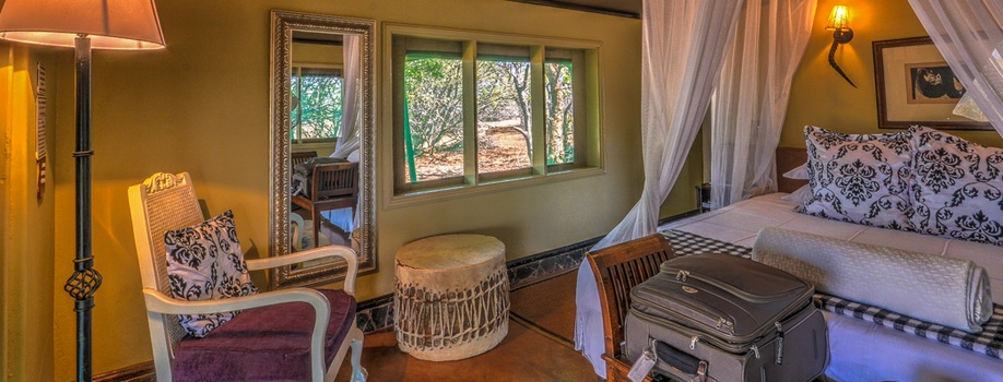 interior of luxury tent, safari lodge