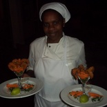 Chef Agnus with their delicious prawn starter